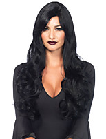 Lady Black Wig 24 Inch  Heat Resistant Synthetic Black Woman Hair Wig Long Body Wavy Cosplay Wigs
