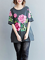 Women's Casual/Daily Simple T-shirt,Floral Round Neck Short Sleeve Cotton Polyester