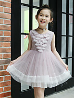 Girl's Casual/Daily Beach Holiday Solid Floral Dress,Cotton Polyester Summer Sleeveless