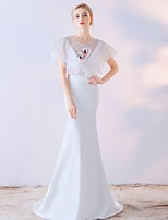 Вечерние платья вечерние платья / русалка драгоценность развертки / щетка поезд атласа шифон с