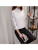 Women's Going out Simple T-shirt,Solid Shirt Collar Long Sleeve Cotton