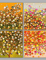 IARTS®Oil Paintings Set of 4 Thriving Color Tree Modern Wall Art For Home Decoration Hand Painted On Canvas Ready to Hang