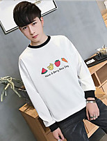 Men's Casual/Daily Sweatshirt Solid Round Neck strenchy Cotton 3/4 Length Sleeve Spring