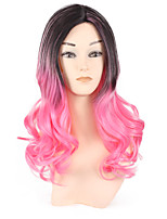 Black Ombre Pink Body Wave Natural Looking Fashion Style Wig for Women Heat Resistant Highlight Two Tone Color Black Pink Popular Hairstyle