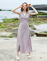 MaskedQueen Women's Going out Casual/Daily Beach Vintage Simple Cute A Line DressFloral V Neck Midi Sleeveless Polyester Summer High Rise Inelastic