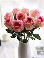 10 Une succursale Polyuréthane Contact réel Roses Fleur de Table Fleurs artificielles