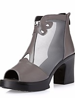 Women's Sandals Spring Club Shoes PU Casual Chunky Heel Gray Black