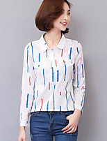 Women's Going out Simple Shirt,Striped Shirt Collar Long Sleeve Others