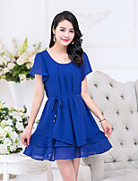 Women's Plus Size Casual/Daily Simple Loose Dress,Solid Round Neck Above Knee Short Sleeve Polyester Summer Mid Rise Inelastic Medium