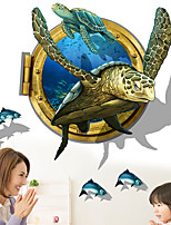 Creative 3D Sea Turtle Bathroom 3D Wall Stickers Fashion PVC Wall Decals