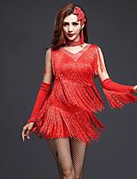 Latin Dance Dresses Women's Performance Spandex Tassel(s) Crystals/Rhinestones 1 Piece Sleeveless Natural Dress