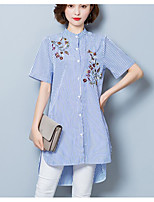 Women's Casual/Daily Simple Shirt,Striped Shirt Collar Short Sleeve Cotton Thin