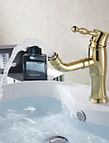Contemporary Creative Fashion Style Brass Ti-PVD Bathroom Sink Faucet