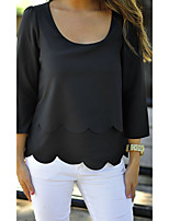 Women's Casual/Daily Sexy Blouse,Solid Round Neck ¾ Sleeve Others
