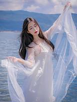 Une Pièce/Robes Lolita Classique/Traditionnelle Rétro Elégant Princesse Cosplay Vêtrements Lolita Blanc Dentelle Rétro Manches longues