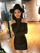 Women's Casual/Daily Simple Shirt Skirt Suits,Solid Round Neck