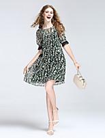 Для женщин На выход На каждый день Секси Очаровательный Уличный стиль А-силуэт Платье Цветочный принт,Круглый вырез До коленаС короткими
