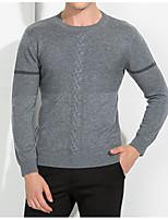 Herren Standard Pullover-Lässig/Alltäglich Solide Rundhalsausschnitt Langarm Wolle Frühling Mittel Mikro-elastisch
