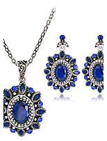 Set de Bijoux Pendentif de collier Boucles d'oreilles Mode euroaméricains Résine Strass Alliage Forme Ovale1 Collier 1 Paire de Boucles