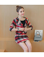 Women's Casual/Daily Simple Blazer Skirt Suits,Solid Plaid Round Neck ½ Length Sleeve
