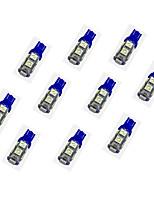 10шт t10 9 * 5050 smd светодиодная лампа для автомобиля синий свет dc12v