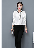 Women's Casual/Daily Simple Shirt,Solid Shirt Collar Long Sleeve Cotton Thin
