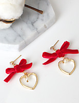 Drop Earrings Euramerican Fashion Velvet Alloy Heart Bowknot Red Black Jewelry For Party Daily 1 Pair