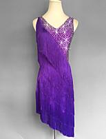 Latin Dance Dresses Women's Spandex Crystals/Rhinestones Tassel(s) Splicing 1 Piece Sleeveless Natural