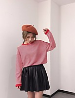 Damen Gestreift Sexy Lässig/Alltäglich T-shirt,Rundhalsausschnitt Langarm Baumwolle Polyester Undurchsichtig