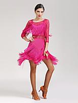 Latin Dance Dresses Women's Performance Spandex Lace Tassel(s) 1 Piece 3/4 Length Sleeve Natural Dress