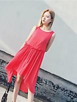 Damen Lose Etuikleid Kleid-Ausgehen Lässig/Alltäglich Einfach Street Schick Solide Gurt Maxi Ärmellos Baumwolle Sommer HerbstMittlere