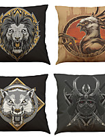 Set of 4 Animal Series  Pattern  Linen Pillowcase Sofa Home Decor Cushion Cover