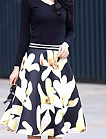 Women's Mid Rise Knee-length Skirts A Line Floral
