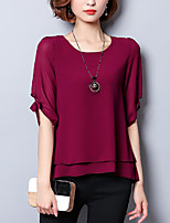 Women's Plus Size Going out Casual/Daily Simple Sophisticated All Seasons Blouse,Solid Round Neck ½ Length Sleeve Rayon