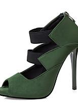Серый Коричневый Красный Зеленый-Для женщин-Повседневный-ПолиуретанБосоножки-Обувь на каблуках