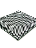 JH20  Men's Pocket Square Handkerchiefs Handmade Black White Houndstooth 100% Silk Classic Unique  Jacquard Woven New