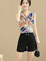 Women's Casual/Daily Simple Summer Tank Top Pant Suits,Striped Round Neck Sleeveless Cotton