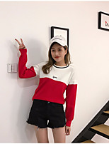 Women's Going out Casual/Daily Holiday Regular Pullover,Color Block Round Neck Long Sleeve Others Spring Fall Thin Inelastic
