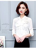Women's Casual/Daily Simple Blouse,Solid Peter Pan Collar Long Sleeve Cotton Thin