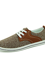 Men's Spring Summer Fall Winter Comfort Canvas Office & Career Casual Flat Heel Lace-up Blue Gray Brown