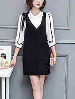 Women's Going out Casual/Daily Party/Cocktail Sexy Street chic Sophisticated Spring Summer Shirt Dress Suits,Color Block Stand ¾ Sleeve