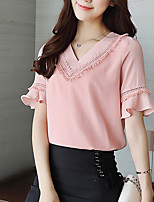 Women's Going out Casual/Daily Vintage Simple Spring Summer Blouse,Solid V Neck Short Sleeve Cotton Sheer Opaque