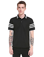 Men's Casual/Daily Work Sports Simple Active Summer Polo,Striped Color Block Shirt Collar Short Sleeve Cotton Rayon Thin