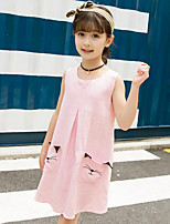 Girl's Casual/Daily Solid Print Dress,Cotton Linen Summer Sleeveless