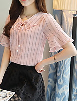 Women's Casual/Daily Simple Summer Blouse,Striped V Neck Short Sleeve Silk Cotton Opaque