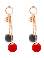 Lureme Women's New Colorful Pom Pom Earrings with Gold Ball Pendant Dangle