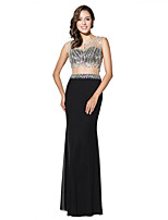 Formal Evening Dress Trumpet / Mermaid Jewel Floor-length Tulle with Beading