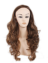 Fashion Ladies Wig Half a Head High Temperature Silk Long Wavy Hair Dyed Polyester Light Brown Wig 28inch