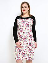 Для женщин Большие размеры Секси Винтаж Простое Облегающий силуэт Прямое Футболка Платье Цветочный принт,Круглый вырез Средней длины