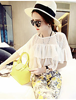 Women's Going out Casual/Daily Cute Blouse,Solid Round Neck Short Sleeve Others
